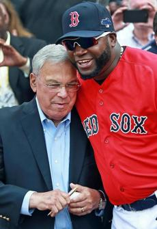 Boston Mayor Thomas Menino (left) shared a moment with designated hitter David Ortiz.