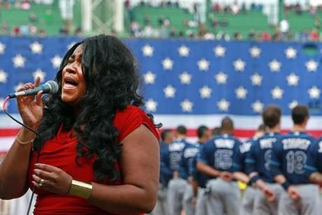 Michelle Brooks Thompson of Sunderland sang the national anthem.