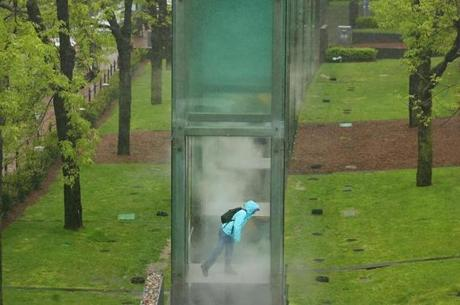 The New England Holocaust Memorial in Carmen Park on Congress Street in Boston involves a series of connected glass towers that invites visitors to walk through small jets of steam.