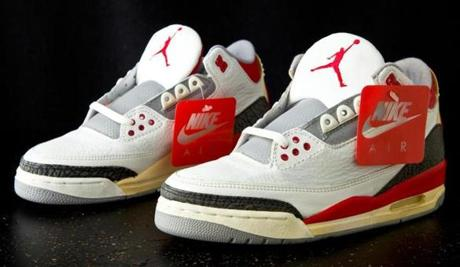 Kosow displays his sneakers on his Sneaker Museum website. Among his collection are a pair of 1991 Air Jordans and Air Jordan III (pictured).