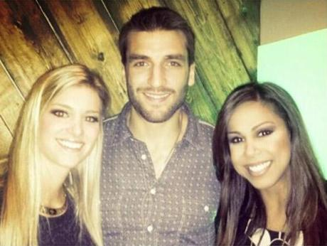 Patrice Bergeron with wife Stephanie (left) and Taniya Nayak.