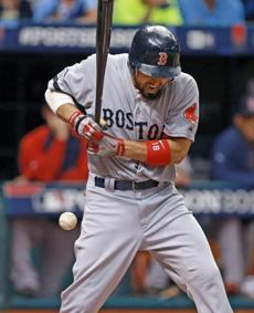 Shane Victorino was hit by a pitch in the fifth inning.