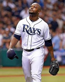 Rays closer Fernando Rodney departed the mound after being removed from the game in the ninth inning.