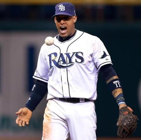 Rays shortstop Yunel Escobar tossed the ball and howled in delight after the double play that ended the top of the fourth inning.
