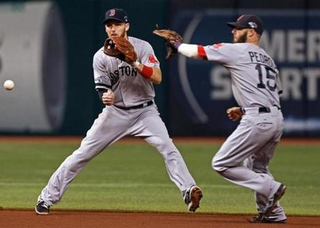 Stephen Drew (left) was ready to field a fourth-inning bouncing ball hit by the Rays Wil Myers. But Dustin Pedroia cut in front of him, fielded the ball, and tried to throw as he went in the opposite direction. The throw was late and Myers had an infield single.