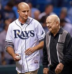 Two former members of the Red Sox and now both with Tampa Bay, Rocco Baldelli (left) and Don Zimmer, took part in the pregame ceremonial first pitch.