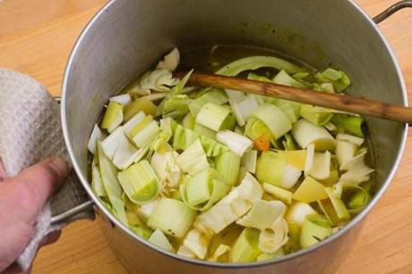 TIP: When you put the cabbage and leeks in the ham chowder, it will look like you have too much for the broth, but the vegetables will cook down.