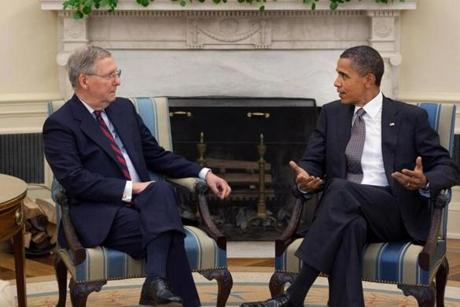 President Obama has met privately with Senate minority leader Mitch McConnell only twice, including in the Oval Office on Aug. 4, 2010.