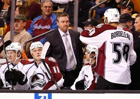 The game marked the Boston debut of former Canadiens goaltender Patrick Roy as the Colorado coach.