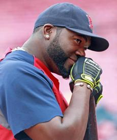 David Ortiz struck a pensive pose as he chatted.