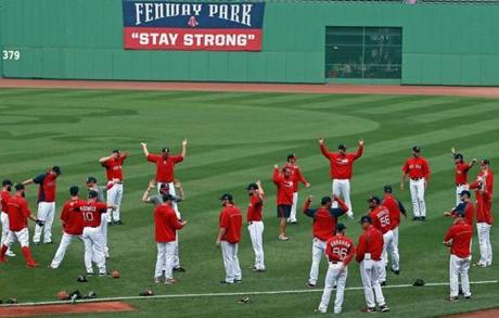 At the time of the workout, the Red Sox did not know which team they would be facing on Saturday.