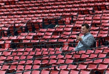 General manager Ben Cherington sat in the stands.
