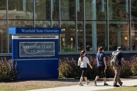 Westfield State University students walked on campus.