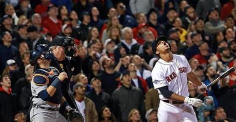 10/12/13: Boston, MA: The Red Sox Xander Bogaerts reacts as he pops up to end the game, the fans all look skyward as the ball sails higg. The Boston Red Sox hosted the Detroit Tigers in Game One of the American League Championship Series at Fenway Park. (Jim Davis/Globe Staff) section: sports topic: Red sox(1)