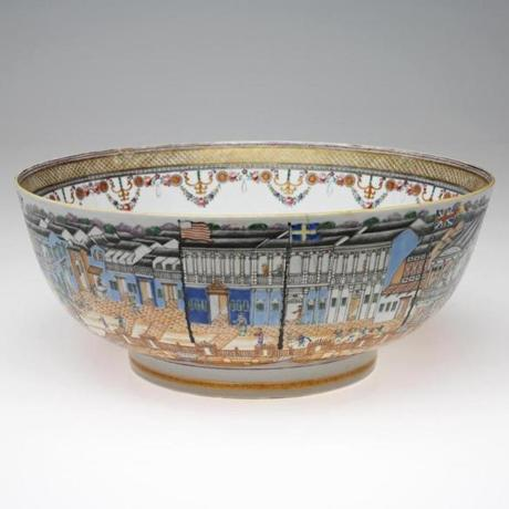 "A Chinese ""Punch Bowl With Cantonese Hongs,"" from ""Making It in America"" at the RISD Museum."
