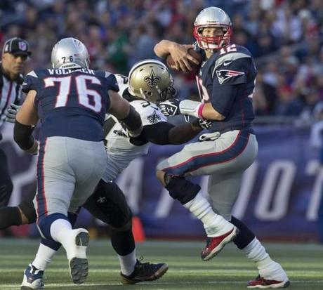 Brady escaped Cameron Jordan for an 11-yard rushing gain.