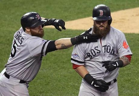 Jonny Gomes had a beard-tug waiting for Mike Napoli.
