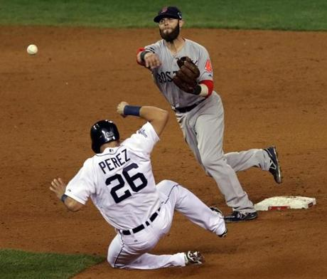 Dustin Pedroia turned a double play in the ninth inning.