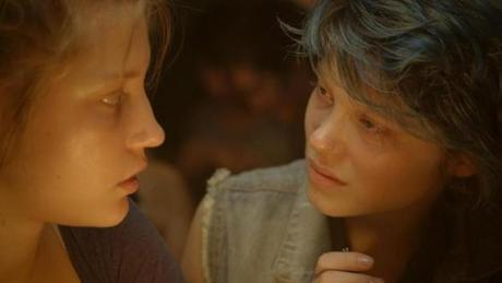 "Adèle Exarchopoulos (left) and Léa Seydoux in ""Blue Is the Warmest Color."""