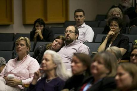 Audience members listened while the Newton mayor, superintendent and people from Riverside Trauma Center spoke.