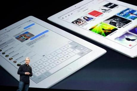 Apple's chief executive, Tim Cook, spoke at Tuesday's new product introduction in San Francisco.