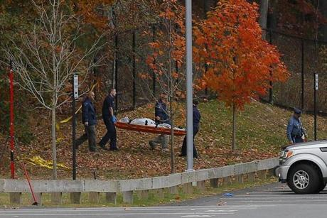 "Police said evidence was found at ""multiple scenes at the Danvers High School and surrounding wooded area."""