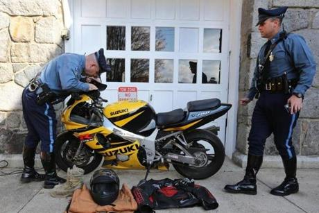 State Police displayed a Suzuki motorcycle driven by Daniel Rebello.