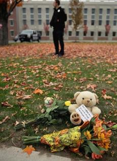 Flowers and teddy bears were left outside Danvers High School.