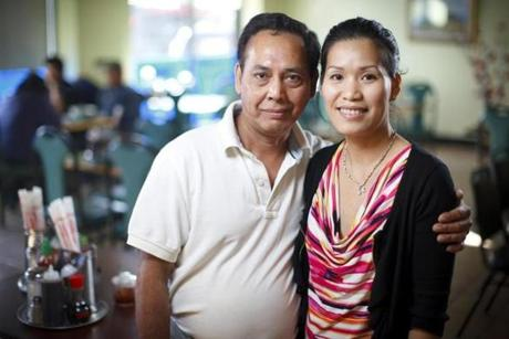 10/24/2013 - Everett, MA - Kiengjang Restaurant - These are co-owners Kim Lien Nguyen, cq, right and her husband Loc Tran, cq, left. Cheap review on Kiengjang Restaurant. Item: 30cheappix . Story by Ellen Bhang. Dina Rudick/Globe Staff