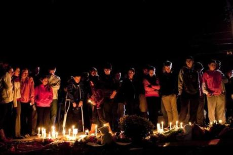 A candlelight vigil was held Wednesday night at Danvers High School for former math teacher Colleen Ritzer.