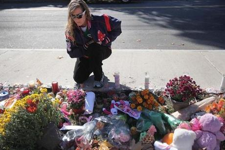 Wendy Davison visited the makeshift memorial for Colleen Ritzer.