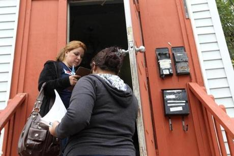 Ivette Siliézar (left) and a colleague canvassed a section of East Boston earlier this week.