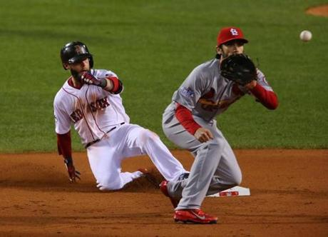 Pedroia slid to second base after hitting a double in the fourth inning.