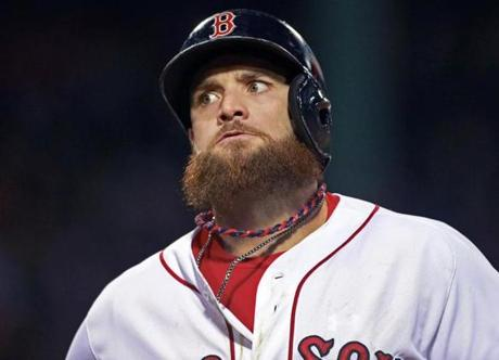 Jonny Gomes reacted after he flew out to center field in the second inning.