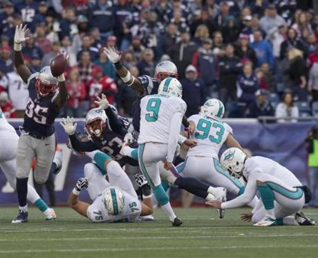 Chandler Jones blocked Caleb Sturgis' 39-yard field goal attempt in the fourth quarter.