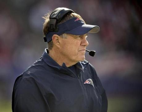 Patriots head coach Bill Belichick watched the game action from the sidelines.