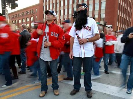 Sox fans Jimmy Navarro (of Iowa, left) and Josh Laverdiere (of Uxbridge, Mass.) were outside Busch Stadium.