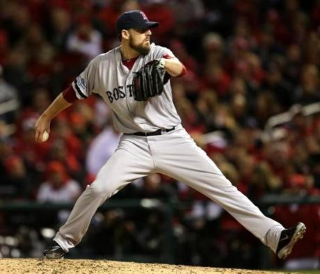 The Red Sox brought in John Lackey for the eighth, and he kept the Cardinals scoreless for the inning.