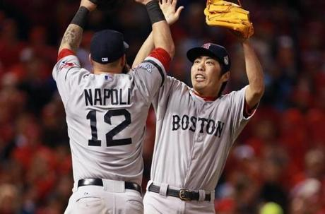 Mike Napoli and Koji Uehara celebrated the victory. The World Series is now tied at two games apiece.