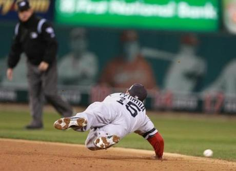 Dustin Pedroia was unable to get to the ball in the third inning.