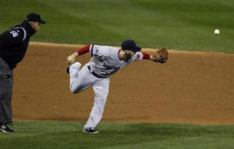 Stephen Drew flipped the ball from his glove to Pedroia in the fourth inning.