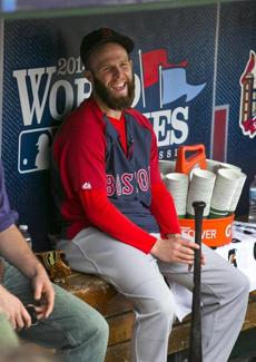 Dustin Pedroia relaxed before the game.