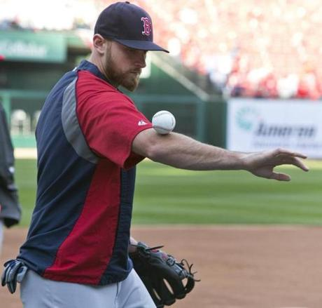 Will Middlebrooks did ball tricks during batting practice.