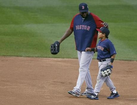 David Ortiz was with his son, D'Angelo, before the game.