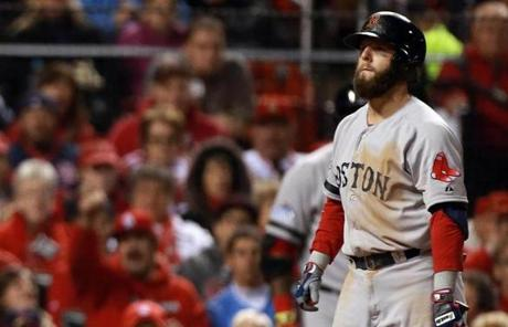 Pedroia reacted after striking out in the fourth inning.