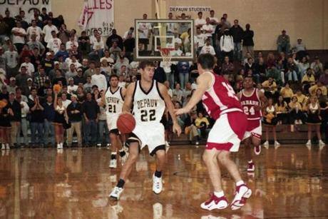 Brad Stevens handles the ball for DePauw University. As a senior, because of a coach's decision, the once-heralded recruit averaged fewer minutes and points than he did as a freshman.