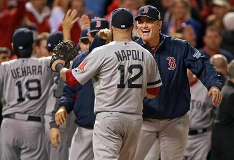 John Farrell congratulated Mike Napoli as the team celebrated.