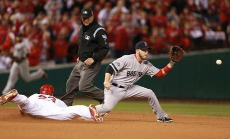 David Freese slid into second base after hitting a double in the eighth inning.
