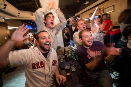 Fans cheered on the Red Sox at the Forum restaurant on Boylston Street.