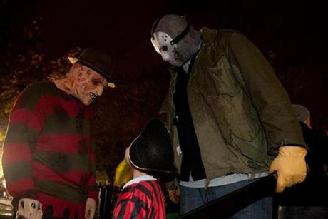Men dressed as villains from horror movies greeted Kyle Crosby, 9.
